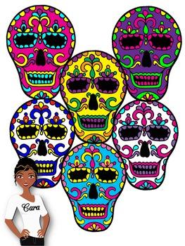 Clip Art~ Day of the Dead Skulls