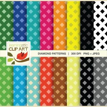Clip Art: Diamond Pattern in bright multi colors - 32 Digi