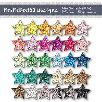 Clip Art Digital Glitter Stars in Rainbow Colors {30 png files}