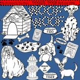 Clip Art Doggie Dogs black and white