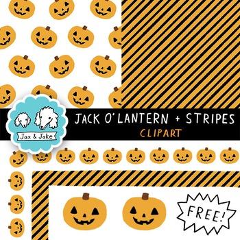 Clip Art: FREE Jack O'Lantern and Stripes Halloween Border
