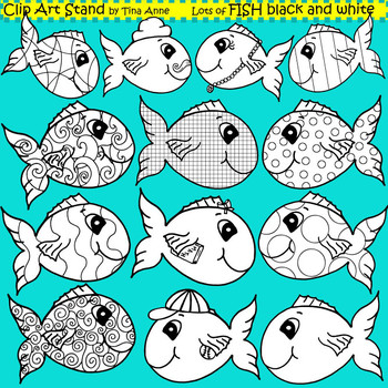 Clip Art Fish in black and white