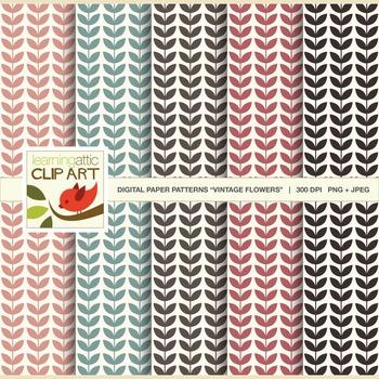 """Clip Art: Flower Pattern """"Vintage Flowers"""" - 5 Digital Papers"""