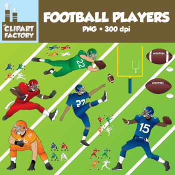 Clip Art: Football Players Pack - Assorted Football Themed