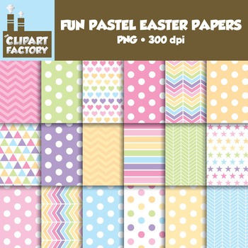 Clip Art: Fun Pastel Easter backgrounds - 18 Digital Papers