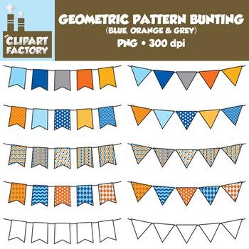 Clip Art: Geometric Pattern Bunting - 10 Fun Blue, Orange,