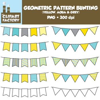 Clip Art: Geometric Pattern Bunting - 10 Fun Yellow, Aqua,
