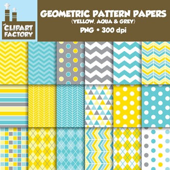 Clip Art: Geometric Patterns-Yellow, Aqua, Grey - 18 Digit