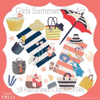 Clip Art: Girls Summer Graphics