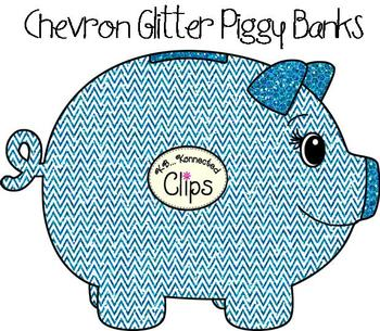 Clip Art - Glitter Chevron Piggy Banks