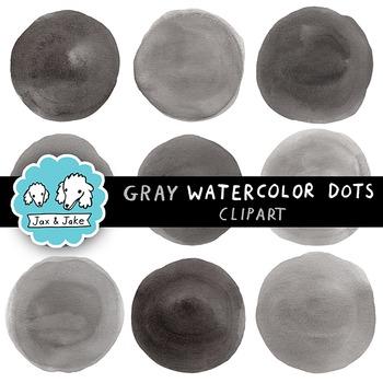 Clip Art: Gray / Black Watercolor Dots / Circles Personal