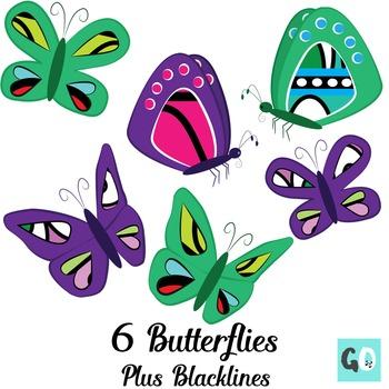 Butterflies Clipart, Groovy Clip Art Butterflies