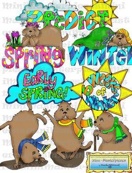Clip Art: Groundhog Day Spring Winter Prediction by Heathe