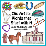H Clip Art Realistic Color and BW Harp Helmet Hydrant Hair