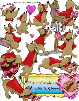 Clip Art: Hearts and Hounds Valentine Dachshund Dogs by He