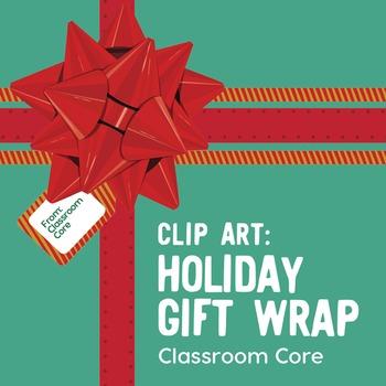 Clip Art: Holiday Gift Wrap Set—Ribbons, Bows, Gift Tags,