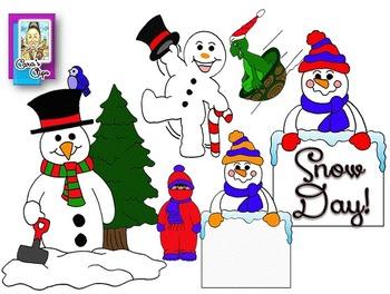 Clip Art~ Hooray!  It's a Winter Snow Day!