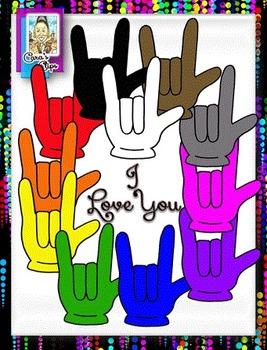 FREE Clip Art ~ I Love You Sign Language - 500 Fantastic F