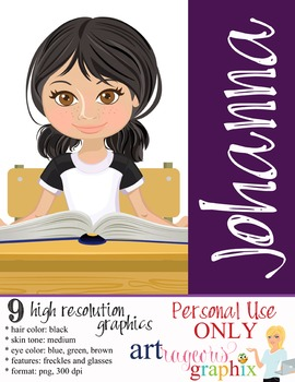 Clip Art - JOHANNA - female, girl, student, digital graphi