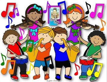 Clip Art~ Joyful Noise Music Kids with Instruments