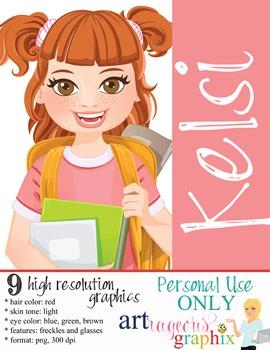 Clip Art - KELSI - female, girl, student, digital graphics