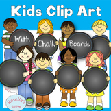 Clip Art Kids with Chalk Boards