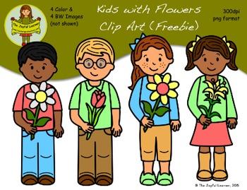 Clip Art: Kids with Flowers (freebie)