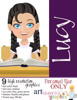 Clip Art - LUCY - female, girl, student, digital graphics