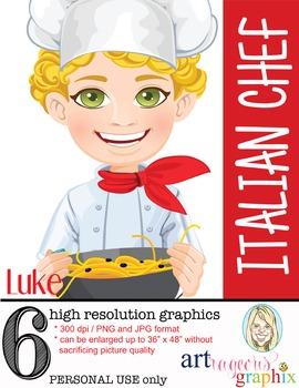 Clip Art - LUKE - male, boy, chef, student, digital graphi