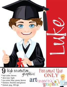 Clip Art - LUKE - male, boy, student, digital graphics - g