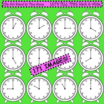 Clip Art Let's Tell Time black and white