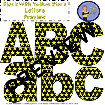 Clip Art Letters with Punctuation- Black With Yellow Stars