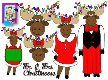 Clip Art~ Merry Christmoose!  Mr. and Mrs. Christmoose (Ch