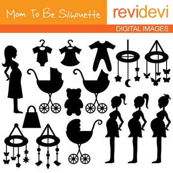 Clip Art: Mom To Be Silhouette (pregnant woman, baby carriage)