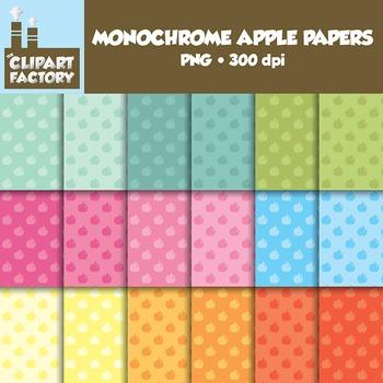 Clip Art: Monochrome Apple Pattern backgrounds - 18 Digita