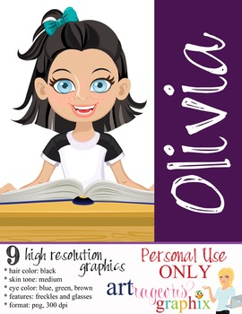 Clip Art - OLIVIA - female, girl, student, digital graphic