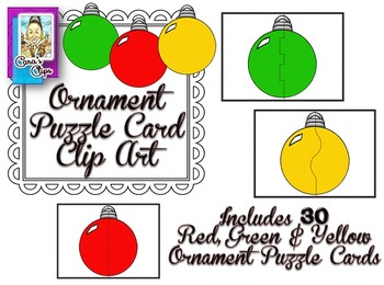Clip Art~ Ornament Puzzles / Task Card Templates