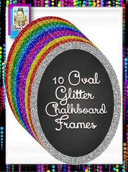 Clip Art ~ Oval Glitter Chalkboard Frames - 500 Fantastic