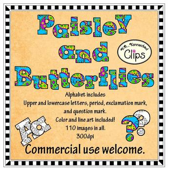 Clip Art - Paisley and Butterflies Alphabet (Color and lin