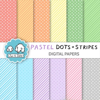 Clip Art: Pastel Dots and Stripes Digital Papers for Perso
