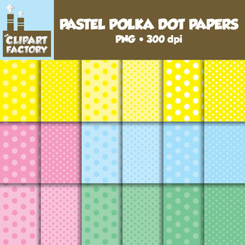Clip Art: Pastel Polka Dot Papers - 18 tone on tone digita