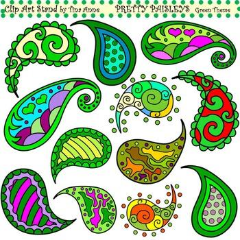 Clip Art Pretty Paisleys Green Theme