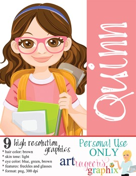 Clip Art - QUINN - female, girl, student, digital graphics