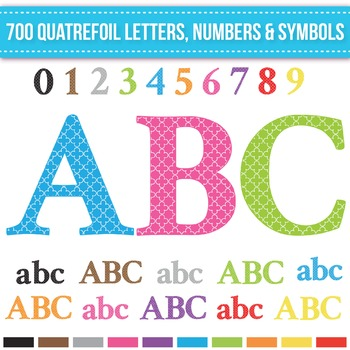Clip Art Quatrefoil Alphabet Letters, Numbers and Symbols