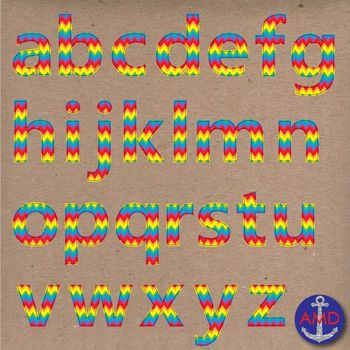 Clip Art: Rainbow Chevron Stitched Alphabet & Numbers Clip