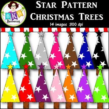 Clip Art ● Rainbow Star Pattern Christmas Trees ● Products