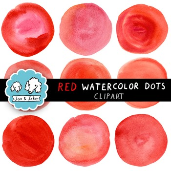 Clip Art: Red Watercolor Dots / Circles for Personal and C