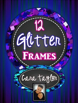 Clip Art~ Round Glitter Chalkboard Frames