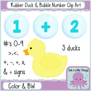 Clip Art - Rubber Ducks & Bubble Numbers - Math clipart