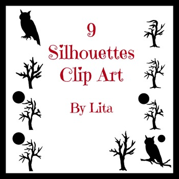 Clip Art Silhouette Trees, Owl, Moon